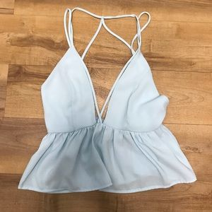 Baby Blue Deep-V Tank Top